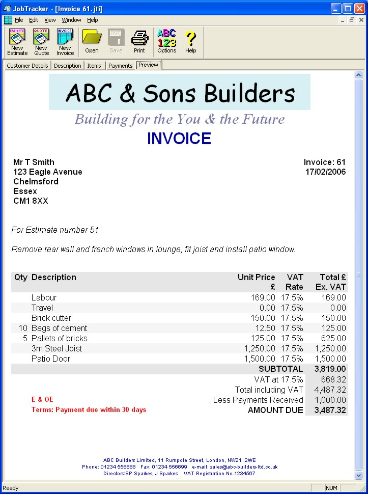 Ebitus  Inspiring Jobtracker  Estimates Quotes Amp Invoice Software  Swifttec With Lovable Previewing An Invoice For Printing With Beauteous Vat Invoice Template Uk Also Sample Of Invoice Format In Addition Dhl Invoices And Pre Printed Invoice Books As Well As Legal Requirements For Invoices Additionally Best Invoices From Swiftteccom With Ebitus  Lovable Jobtracker  Estimates Quotes Amp Invoice Software  Swifttec With Beauteous Previewing An Invoice For Printing And Inspiring Vat Invoice Template Uk Also Sample Of Invoice Format In Addition Dhl Invoices From Swiftteccom